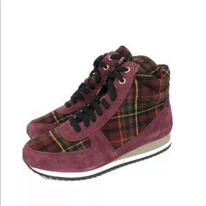Bella Vita Enice Burgundy Suede Plaid Shoes 7 WIDE